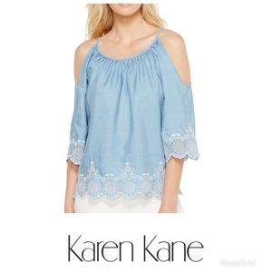 Karen Kane Chambray Embroidered cold shoulder top